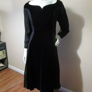 Vintage 1950's Tea Length Black Party Dress XL